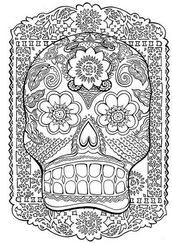 Coloriage Adulte Tatouages Tatouage Tete De Mort Sugar Skulls