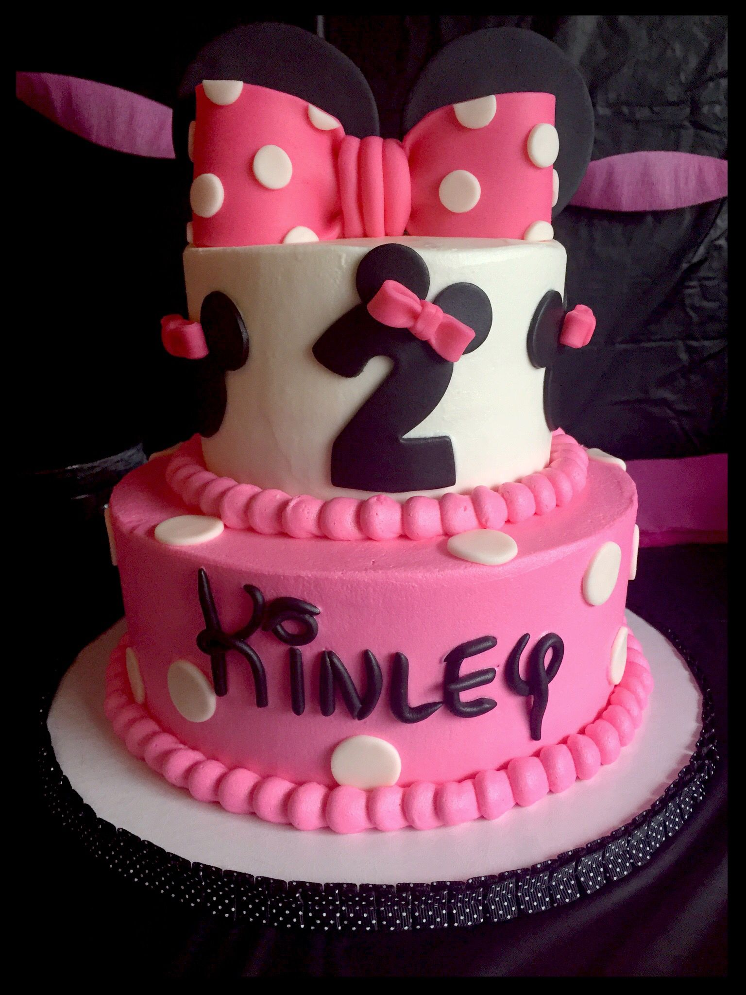 Minnie Mouse Themed 2 Tier Birthday Cake