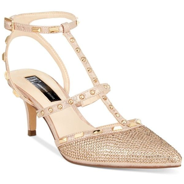 Inc International Concepts Carma Evening Kitten Heel Pumps Wedding Shoes Gold Heels Gold Kitten Heels Kitten Heels Wedding