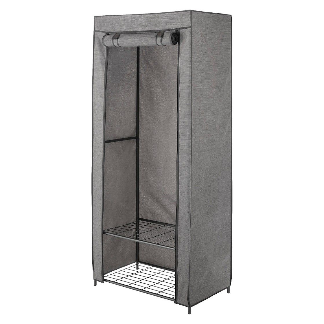 2 Tier Wardrobe Metal Frame With Two Shelves And Breathable Cover Threshold Free Standing Closet Storage Closet Organization Portable Closet