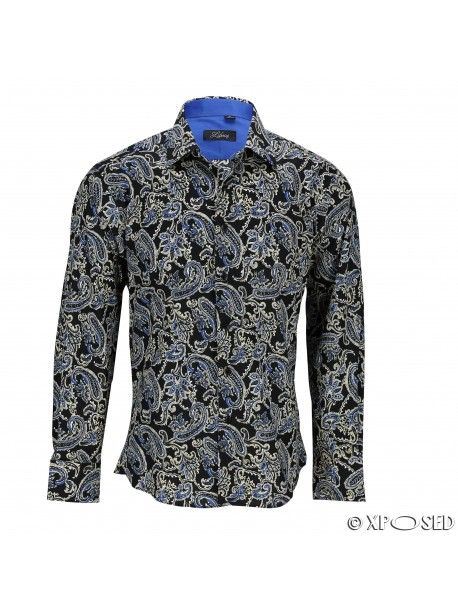 1696b41abae Mens Black Blue Vintage Paisley Print Cotton Button Shirt Long Sleeve Summer  Top