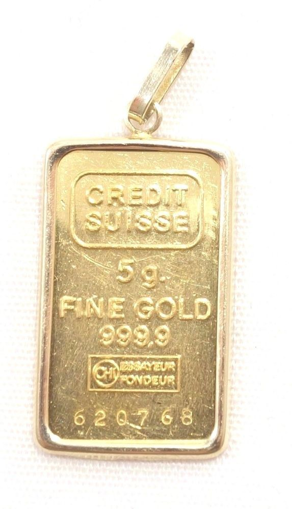 5 Gram Gold Bar Pendant 14k Bezel 999 Fine Gold Credit Suisse Necklace 620768 Gold Bar Pendant Bar Pendant Gold Bar