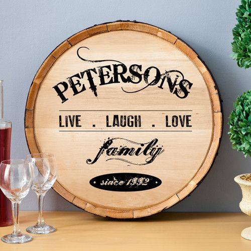 JDS Personalized Gifts Personalized Gift Wine Barrel Home Décor Sign ...