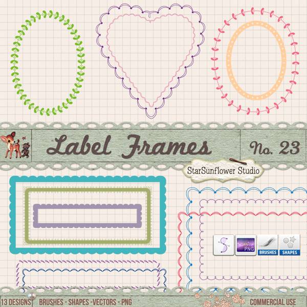 Free Doodle Frames Clipart, Brushes, Custom Shapes & Vectors - StarSunflower Studio