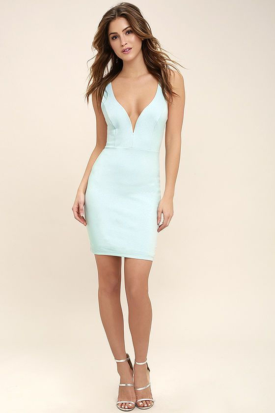 8a8a43fa00d2 We dare you to find a dress more perfect than the Perfect Pick Light Blue  Bodycon Dress! This sexy number hugs your figure as medium-weight ...