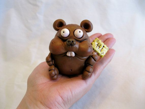 Happy Critter Polymer Clay Sculpture by mirandascritters on Etsy, $20.00