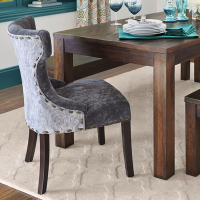 Hourglass Dining Chair   Gray Damask