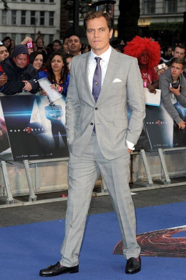 Michael Shannon Paired His Grey Suit With A White Shirt