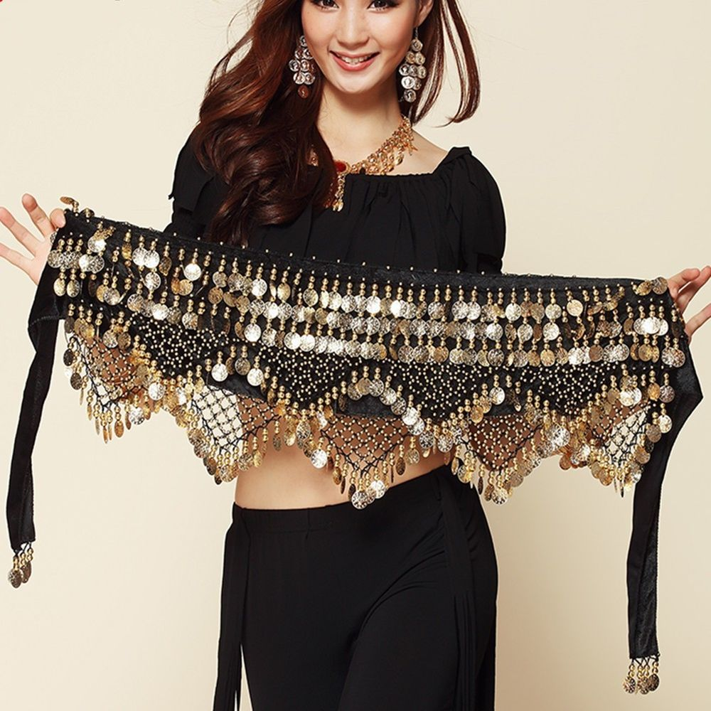 New Red Belly Dance Hip Skirt Scarf Wrap Belt With Golden Coins Gypsy Scarf