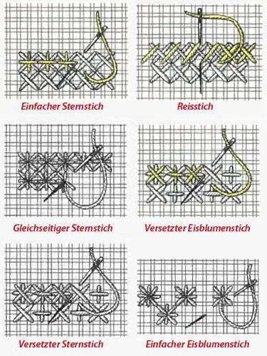 Sticken lernen: Sternstiche   Pinterest   Sticken lernen, Lernen und ...