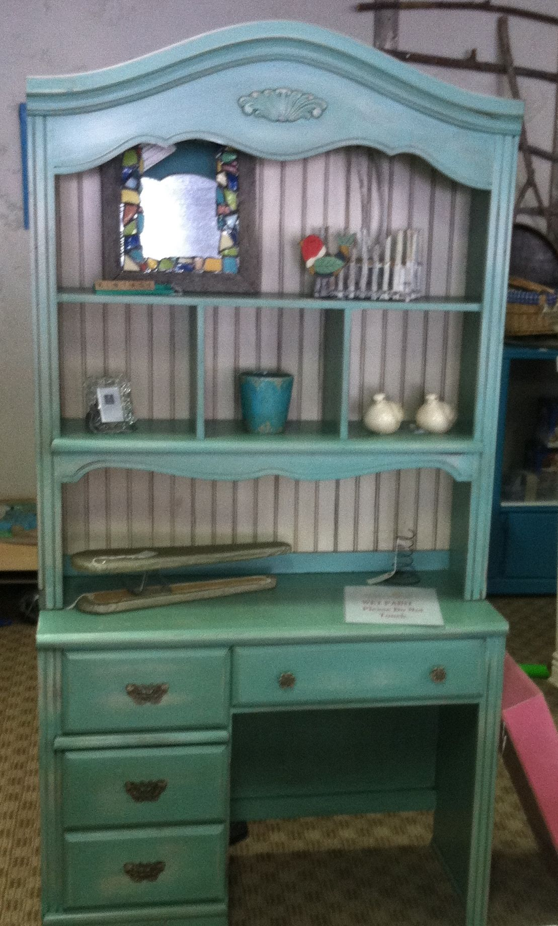 Turquoise Desk Chair Turquoise Desk With Hutch Shabby 39d Up And Antiqued New
