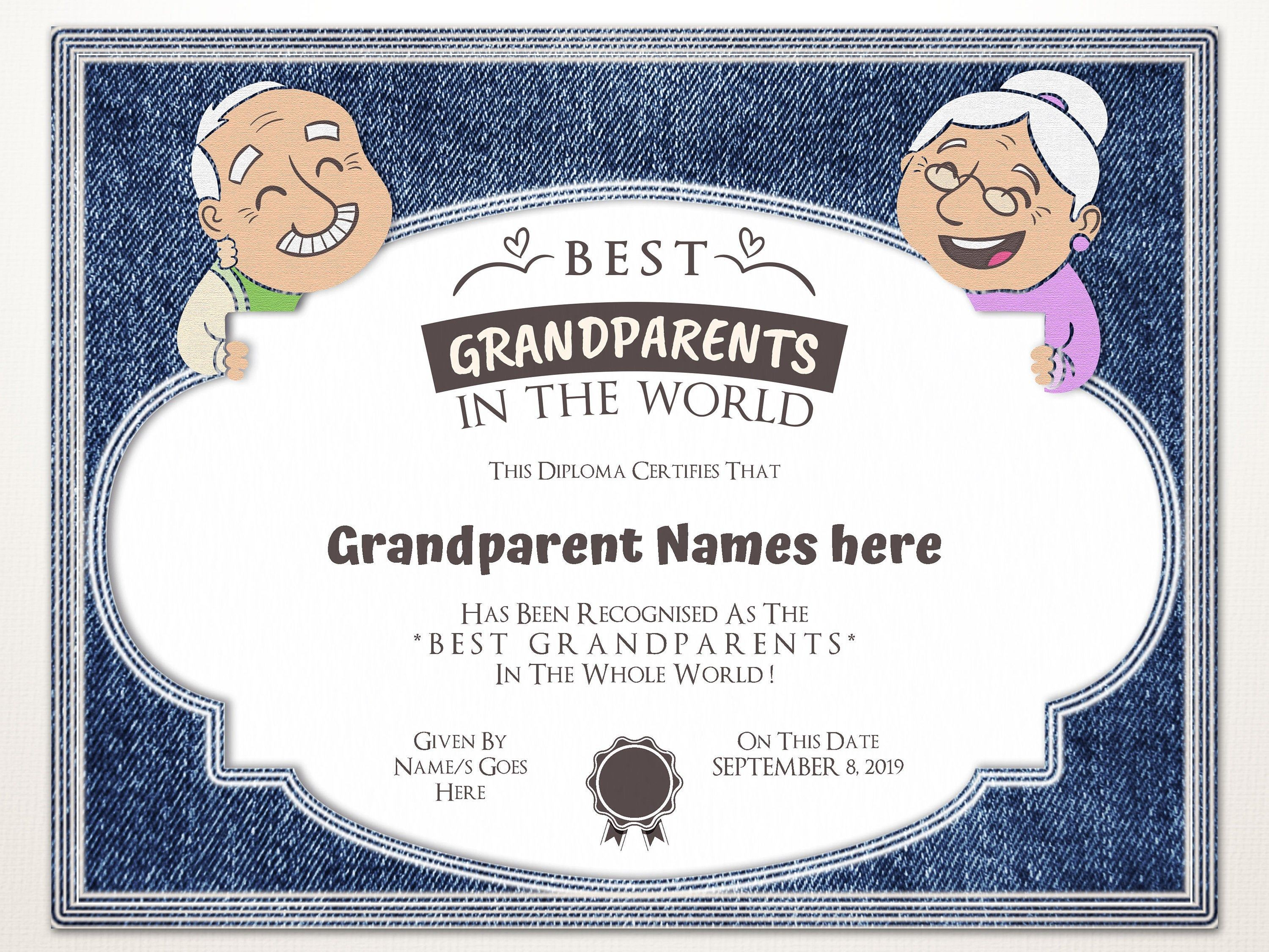 Best Grandparents In The World Gift For Grandparents Day Etsy In 2021 Editable Certificates Gifts For Grandparents Grandparents Day