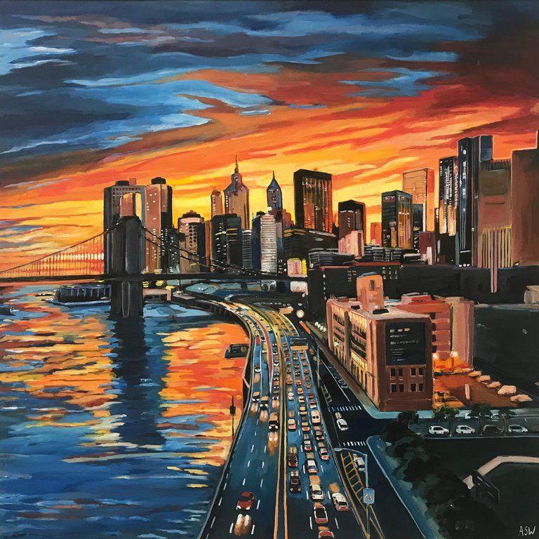 New York Painting Original Watercolor Cityscape Watercolor Painting New York Skyline Sunrise Art Urban Artwork