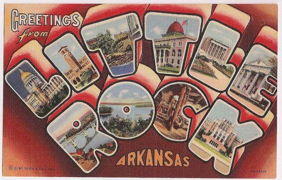 Vintage Little Rock Arkansas Large Letter Style Greetings