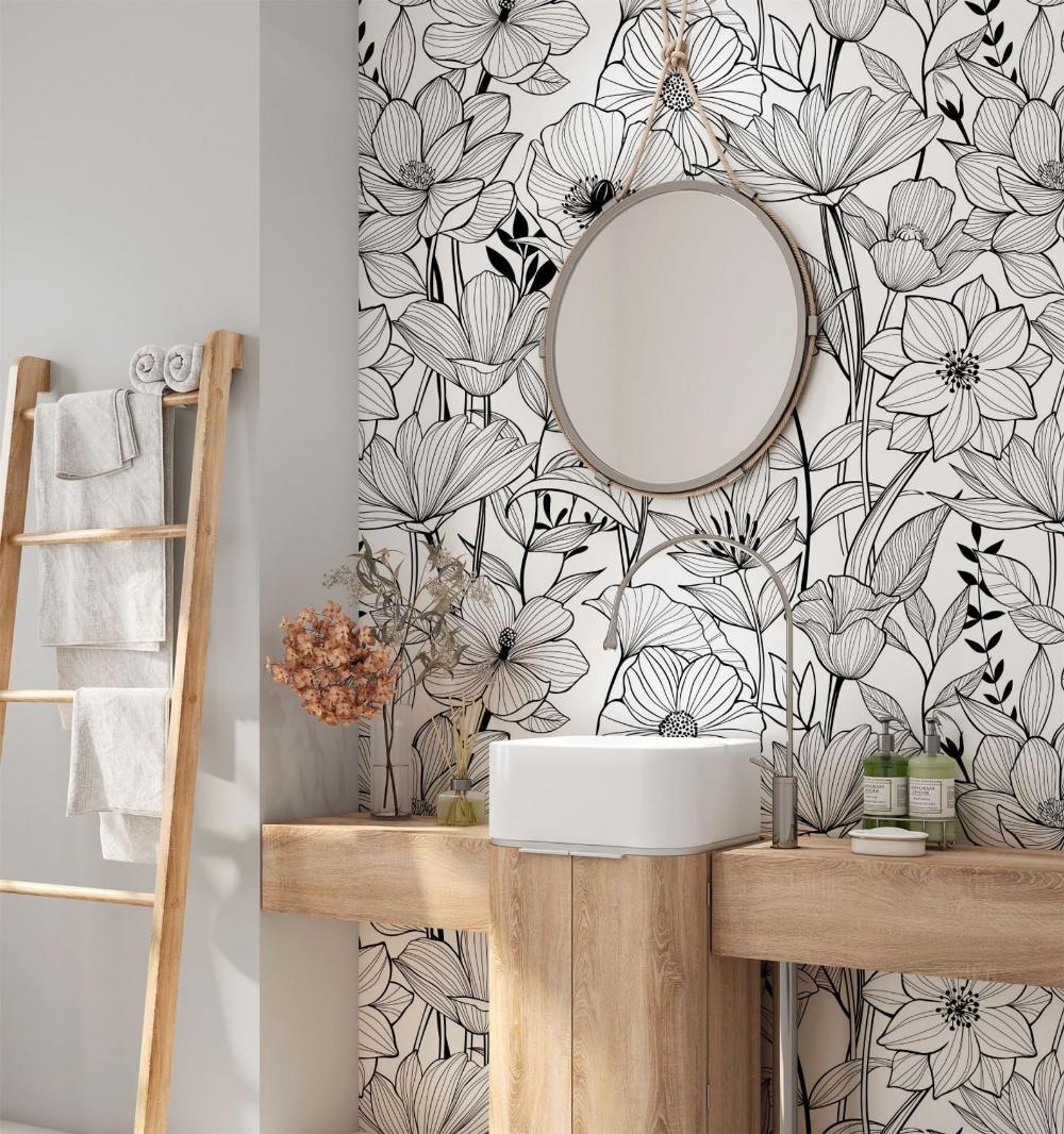 Flower Wallpaper. Selfadhesive Removable Wallpaper