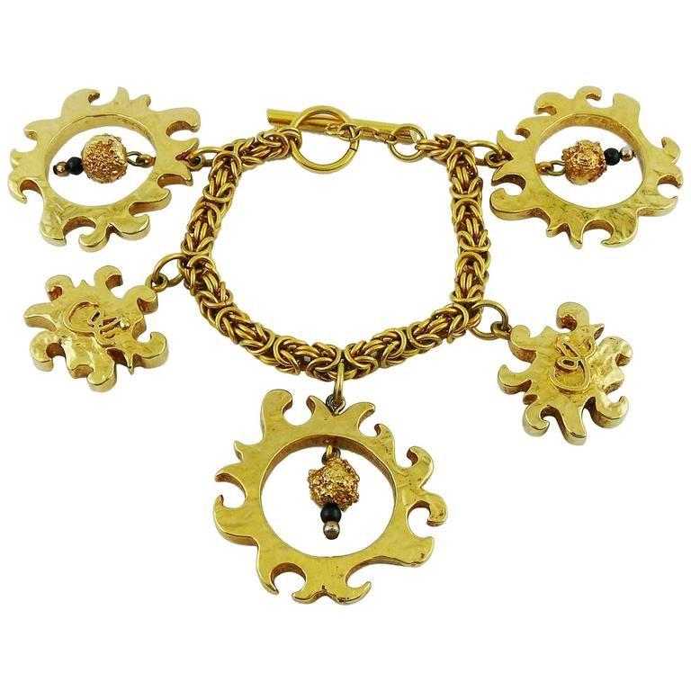Christian Lacroix Vintage Gold Toned Sun Charms Bracelet Christian Lacroix Jewelry Vintage Charm Bracelet Vintage Gold