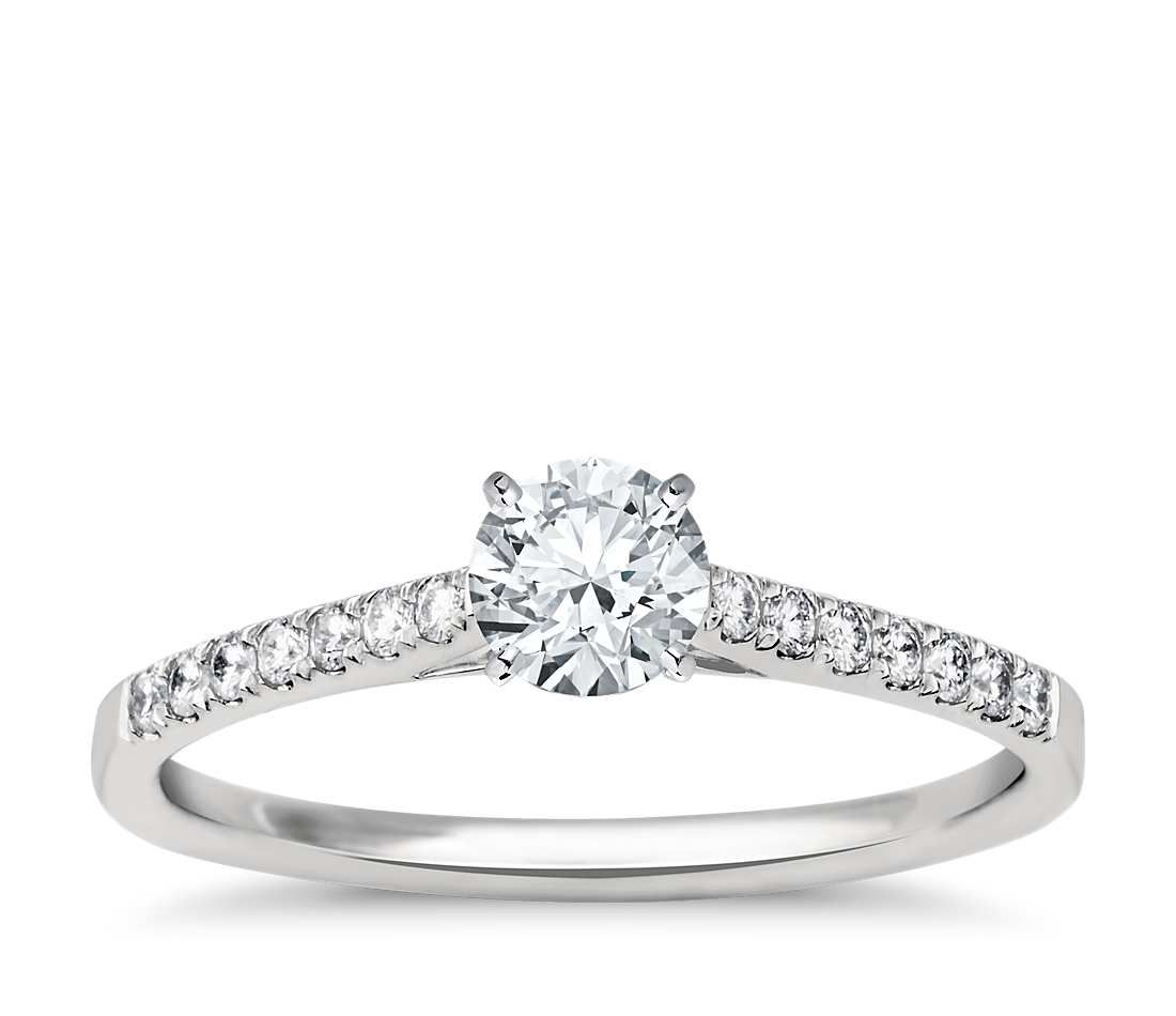 Petite cathedral pavé diamond engagement ring in platinum ct