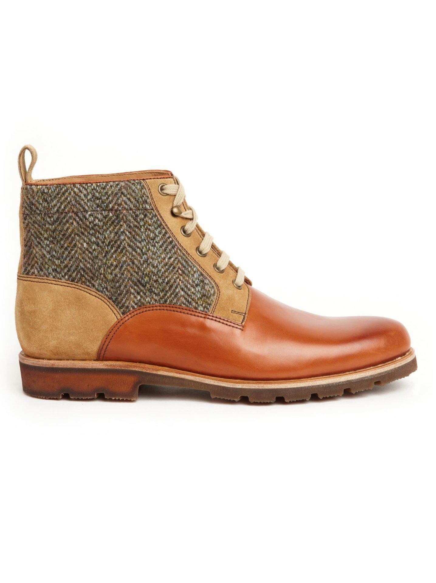 Monge. Brown ankle boot. Leather, suede and tweed.  #Fashion #Men #Shoes