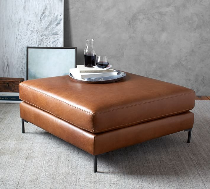 Jake Leather Sectional Ottoman Leather Ottoman Coffee Table