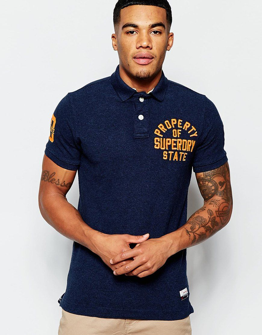 fbbb059efa6e3 Image 1 of Superdry Polo Shirt with Chest Embroidery - men's fashion ...