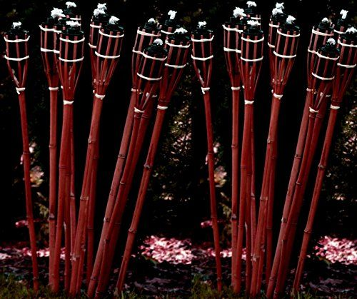 21 Stück Gartenfackel Bambusfackel 90 cm Mahagoni Farbe
