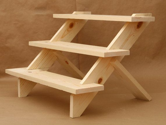 3 Tier Display Shelf Shelves Collapsible Riser Wooden Step Trade Show Craft