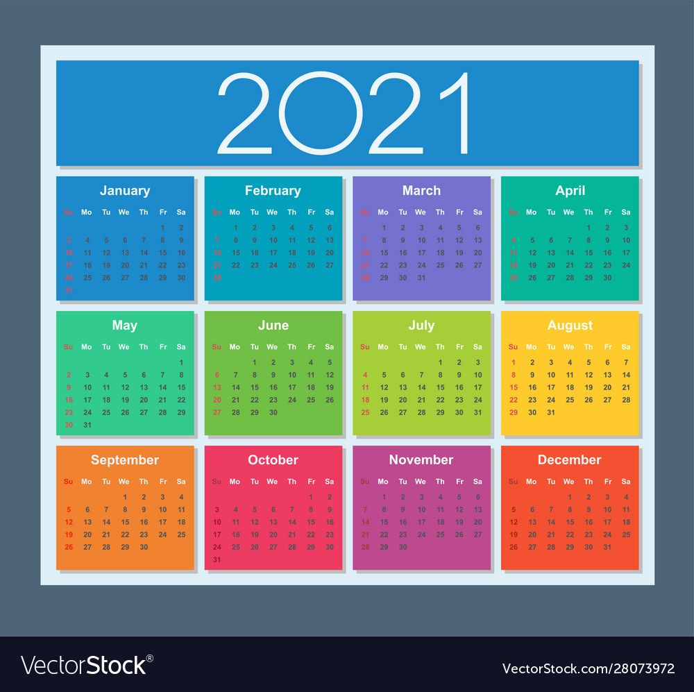 Colorful calendar for year 2021 week starts on Vector
