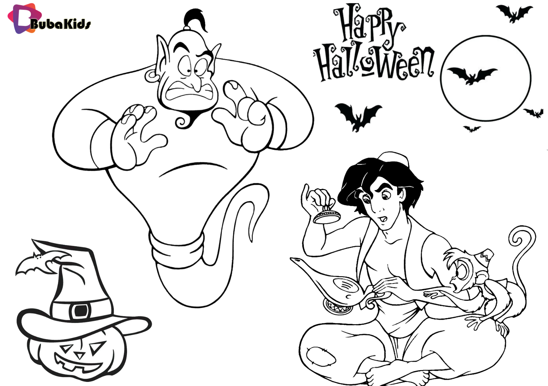 Aladdin Genie And Abu Halloween 2019 Costume Ideas Coloring Page Abu Aladdin Bubakids Com Genie Hal Cartoon Coloring Pages Coloring Pages Halloween 2019