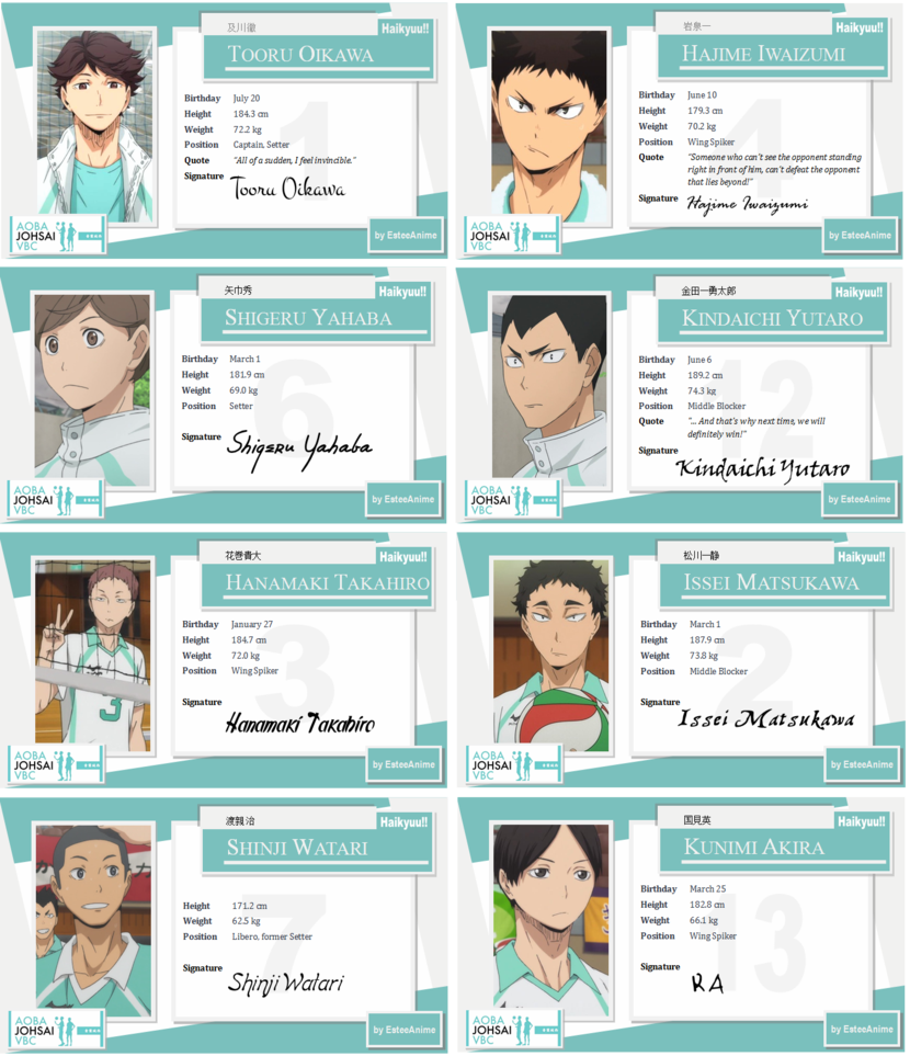 These Character Cards Were Previously Individual Deviations But I Thought It D Be Better To Combine Them All Into Haikyuu Characters Haikyuu Haikyuu Karasuno