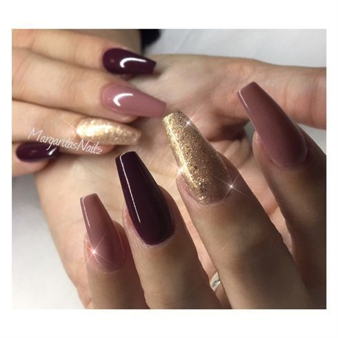 fall colors nail fashion coffin nails  maroon nails fall