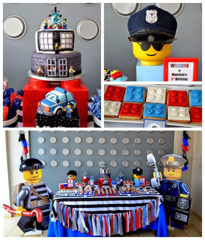 Lego City Police Themed Birthday Party Fiesta De Legos Decoraciones De Fiesta Lego Y Pinata Lego