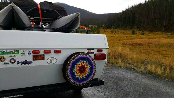 Spare Tire Cover Rv Pop Up Trailer By Unique2who On Etsy With Images Pop Up Trailer Spare Tire Covers Custom Spare Tire Covers