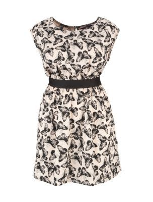 Inspire Cream Black Butterfly Print Dress