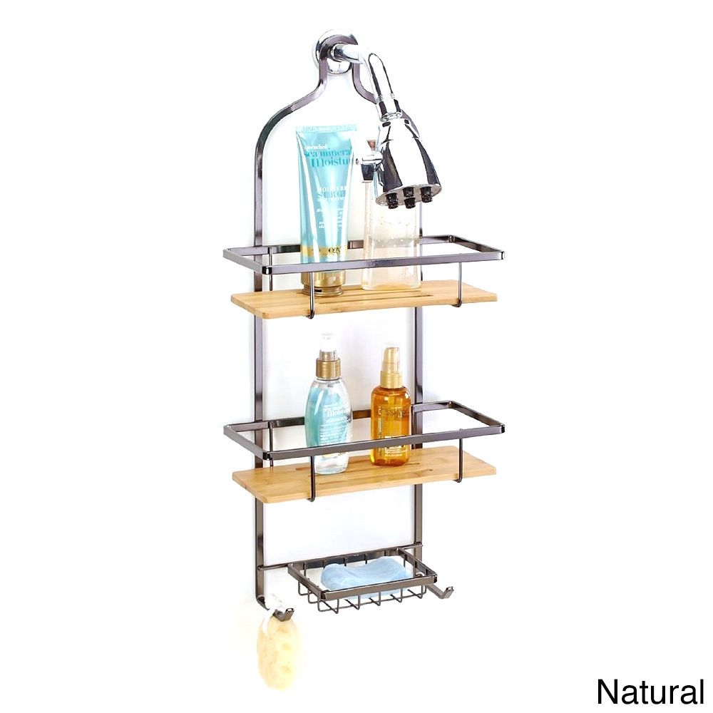 Simplify Bamboo and Steel Flat Wire Deluxe Shower Caddy | Overstock ...