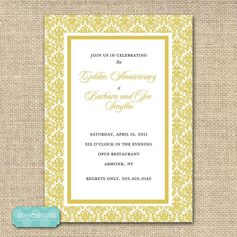 50th anniversary, golden damask fancy script anniversary, Birthday invitations