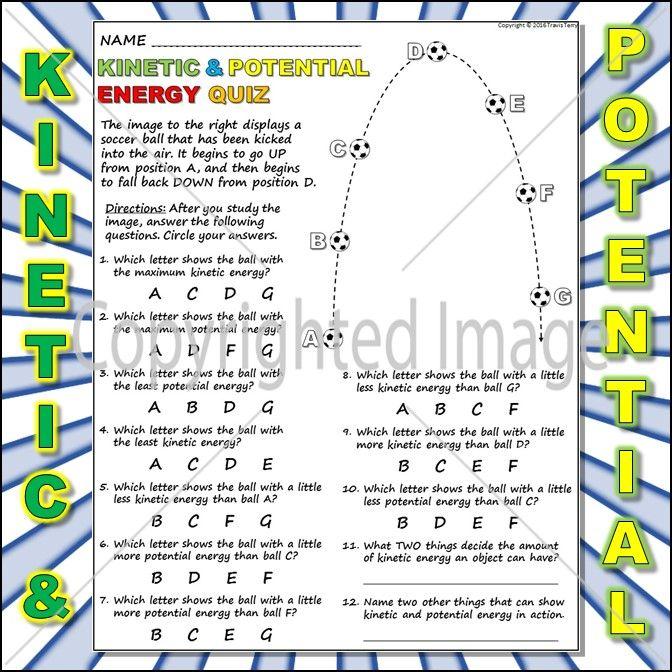 Worksheet Kinetic Vs Potential Energy 1 Potential Energy Kinetic And Potential Energy Kinetic Energy