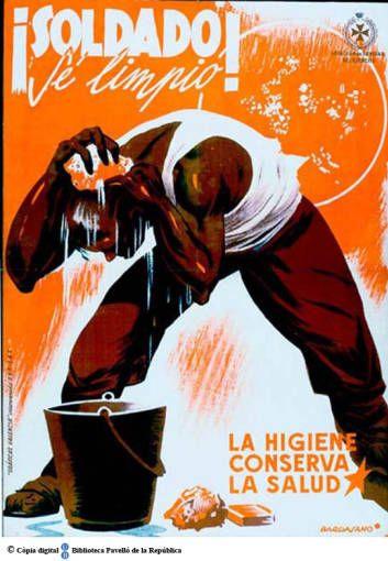 ¡Soldado! sé limpio : la higiene conserva la salut :: Cartells del Pavelló de la República (Universitat de Barcelona)