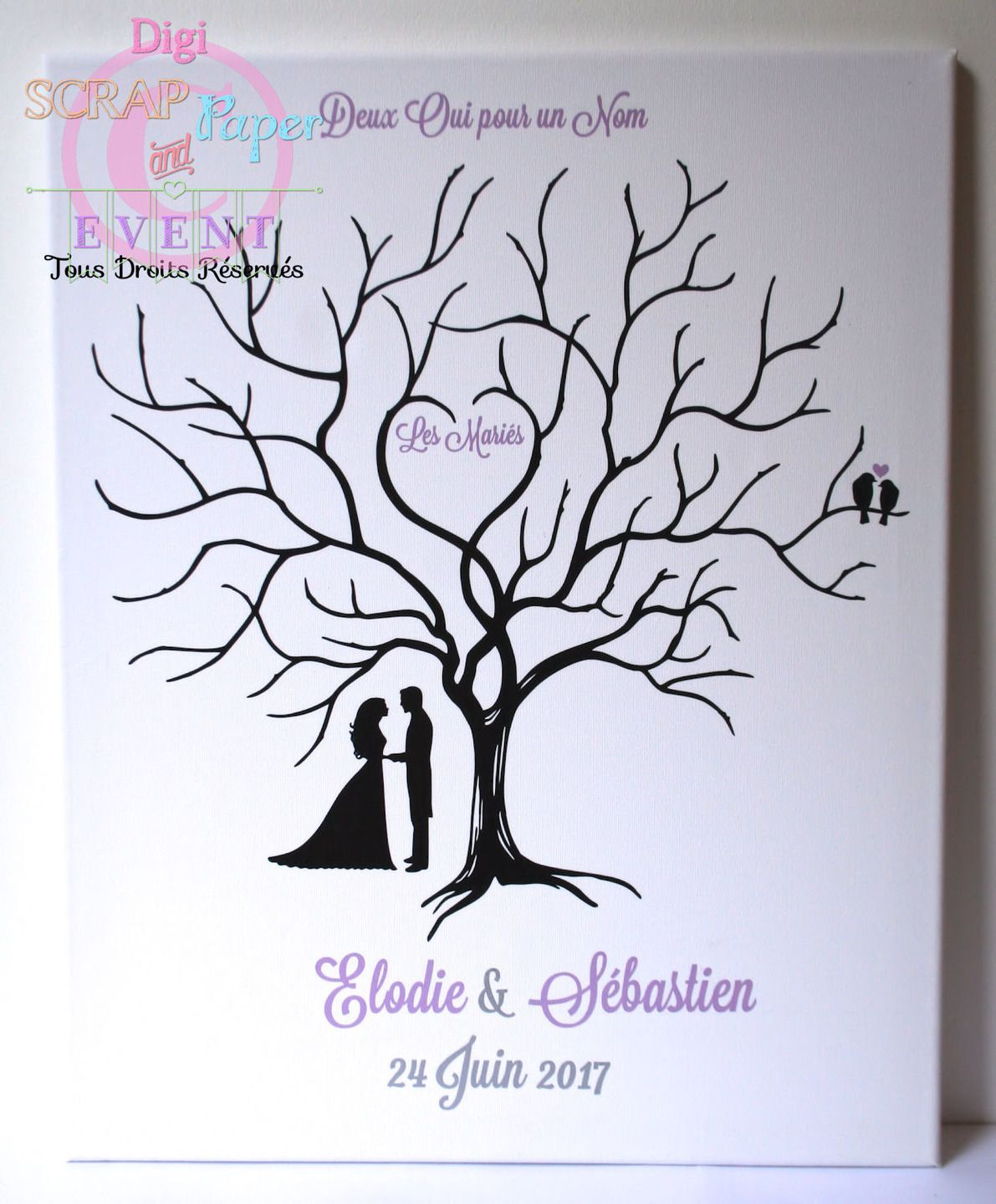 arbre empreintes mariage sur toile 40 50 wedding. Black Bedroom Furniture Sets. Home Design Ideas