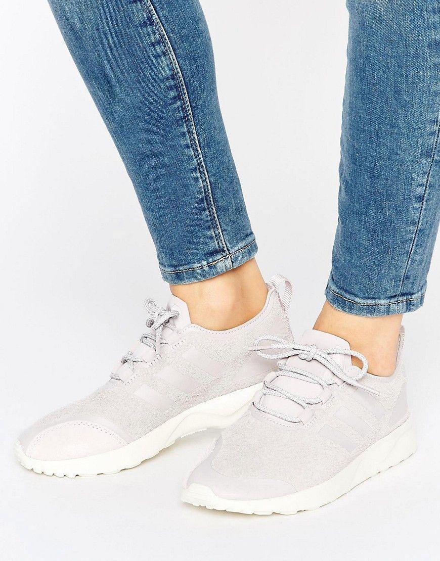 wholesale dealer e6b08 2a841 Zapatillas de deporte de ante morado hielo Zx Flux de adidas Originals.  Zapatillas de deporte de Adidas, Exterior de suave ante, Cierre de  cordones, ...
