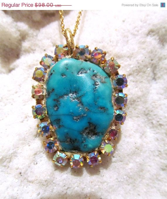 PRESALE Turquoise and AB crystal Pendant in by YaronaJewelryDesign, $85.26