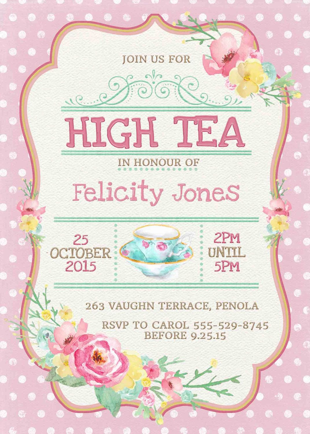 Kitchen Tea Invitation or High Tea Invitation Printable Pink Spots ...