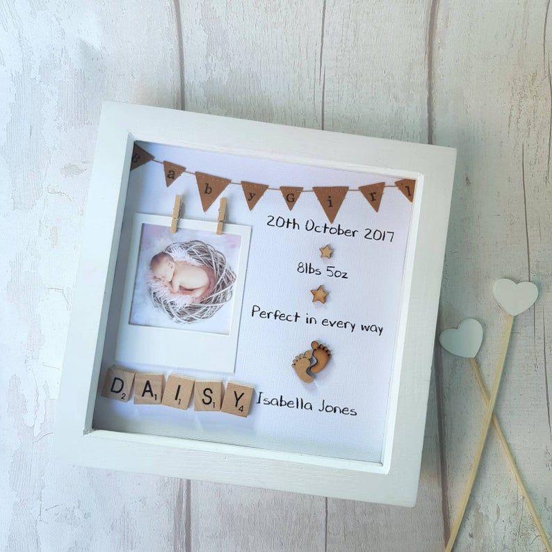 Personnalisée Photo Boite Cadre Scrabble Lettres Baptême Baptême nouveau bébé