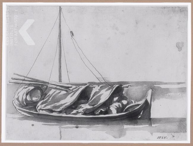 Jan de Bisschop   Zeilboot met vracht   München, Staatliche Graphische Sammlung München, inv./cat.nr. 1875 ~ drawing
