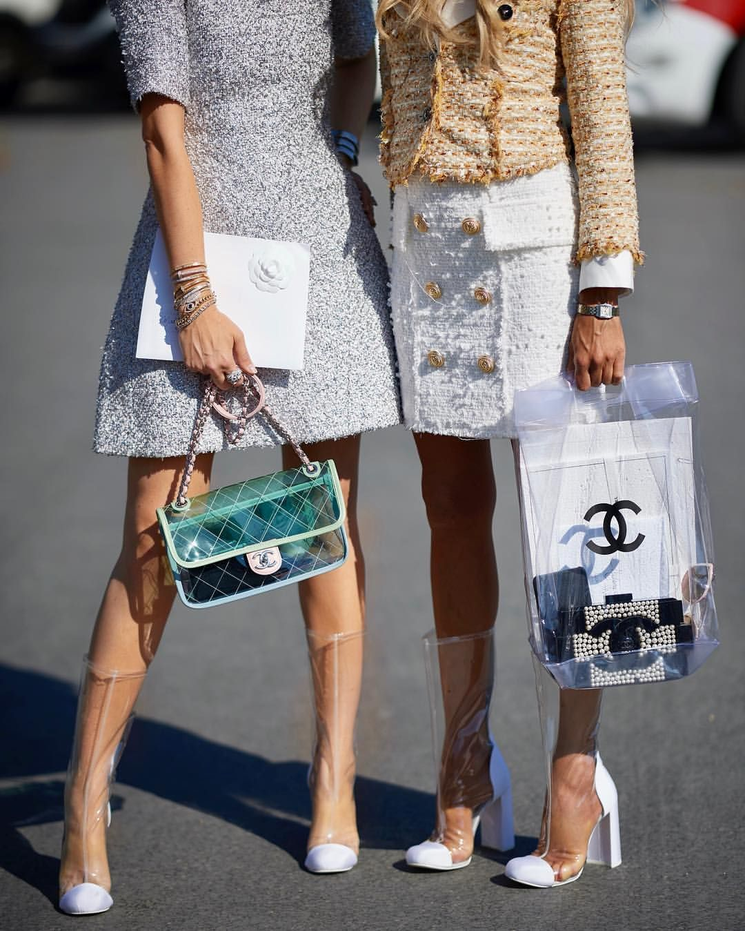 Erica Pelosini and Alexa Dell Chanel clear pvc boots bag street style Paris  couture d4fc74268390b