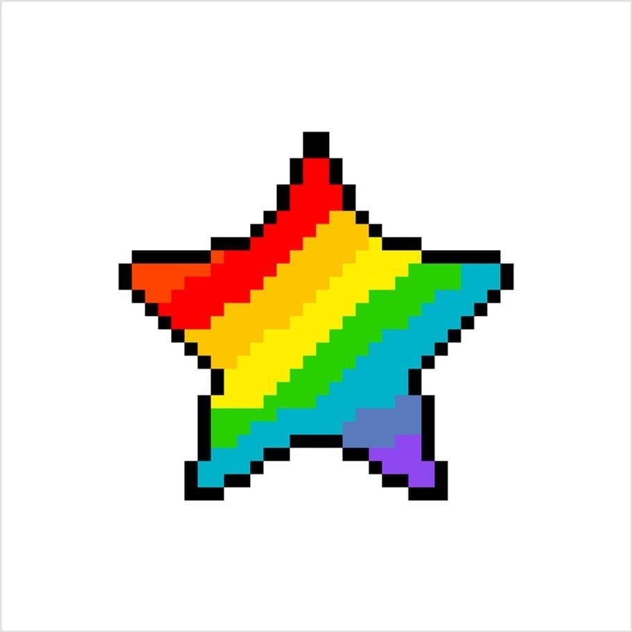 Coloriage Et Illustration Dune étoile Arc En Ciel En Pixel