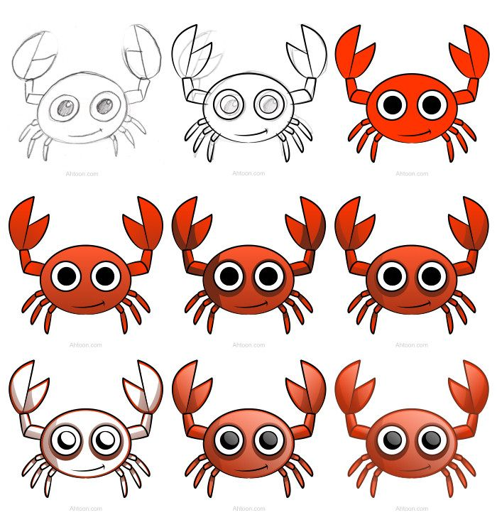 Draw this adorable cartoon crab using a simple tutorial. :) | Play ...