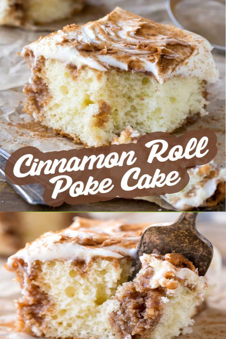 What makes a cinnamon roll even better? Turn it into a cake! This white cake with cinnamon sugar filling and cream cheese frosting is so sweet! #dessert #dessertrecipe #cinnamonroll #pokecake #cinnamonrollpokecake