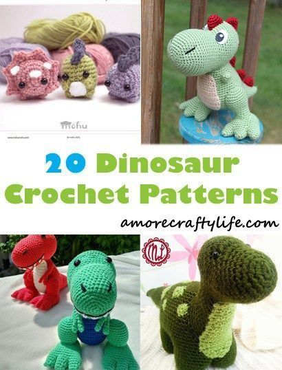 dinosaur crochet patterns - crochet pattern pdf - amorecraftylife.com #crochetdinosaurpatterns