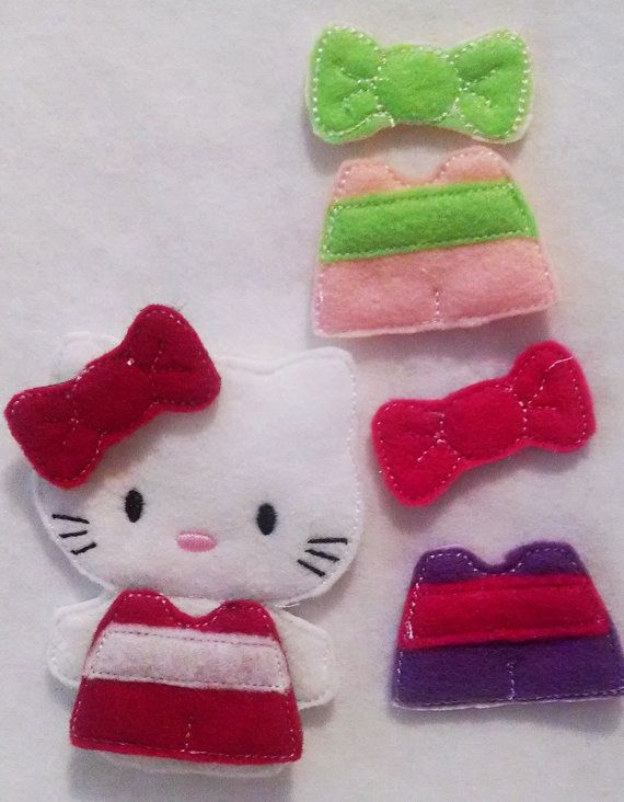 Hello Kitty unpaper doll, felt doll, Quiet Game, felt gamel, Birthday Favor, Felt Favor, Children's Toy