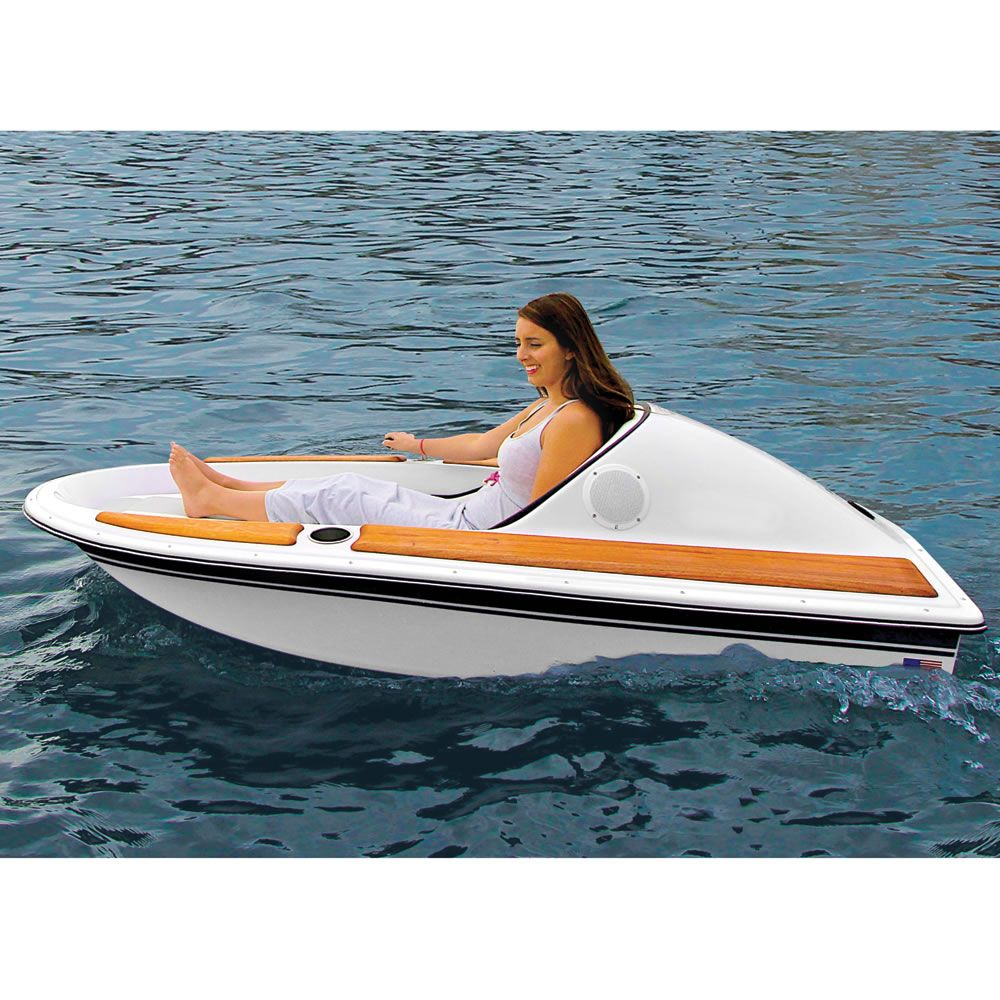 One Person Electric Watercraft Trumps Those Dinky Rowboats Even On Its Worst Day Unique Hunters Electric Boat Water Crafts Boat